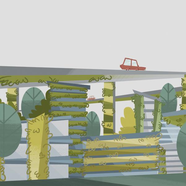 Muros verdes o jardines verticales en periférico. Arte, Michel Laris