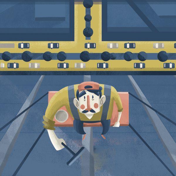 En la CDMX ocurren 118 accidentes laborales al día, debido a trabajos peligrosos. Arte, Michel Laris.